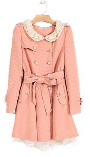 Pink Lace Collar Flare Hem Belted Trench Coat