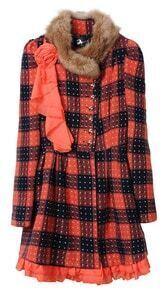 Orange Fur Trim Round Neck Brooch Embellished Plaid Woolen Coat
