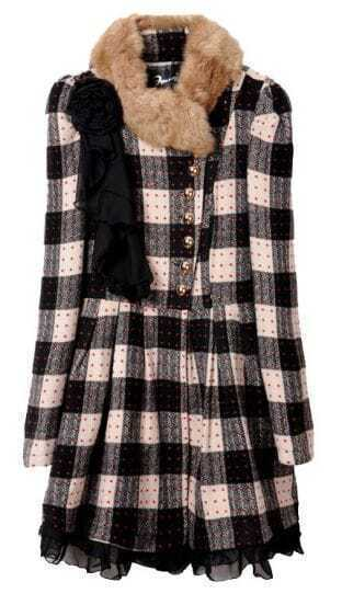 Black Fur Trim Round Neck Brooch Embellished Plaid Woolen Coat