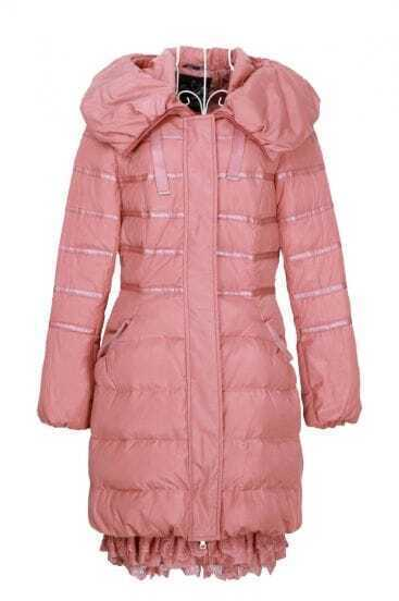 Pink Pillow Collar Hooded Lace Ruffle Hem Down Coat