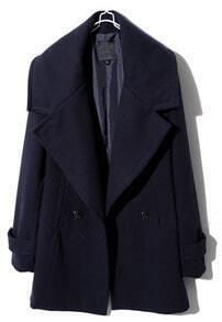 Navy Lapel Long Sleeve Split Buttons Coat