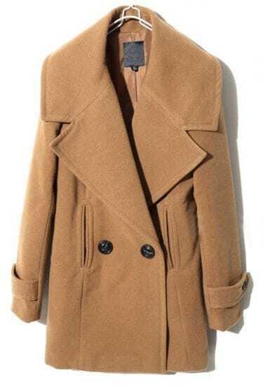 Camel Lapel Long Sleeve Split Buttons Coat