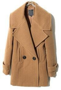 Camel Lapel Long Sleeve Split Buttons Coat