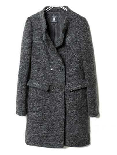 Grey High Neck Long Sleeve Buttons Pockets Coat