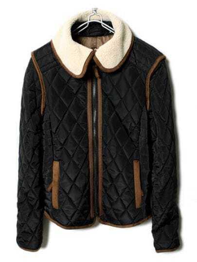 Black Lapel Long Sleeve Zipper Diaper Coat