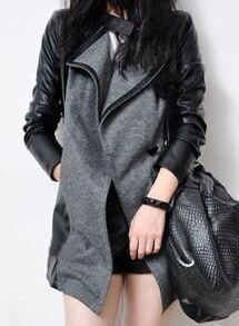 Grey Contrast PU Leather Long Sleeve Trench Coat