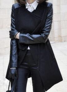 Black Contrast PU Leather Sleeve Double Lapel Zipper Coat