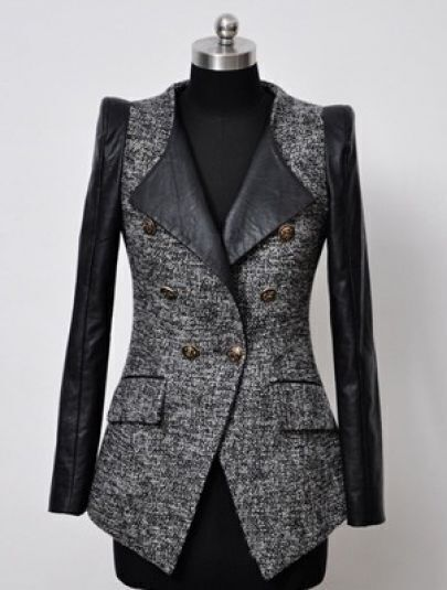 Grey Contrast Leather Long Sleeve Buttons Tweed Coat