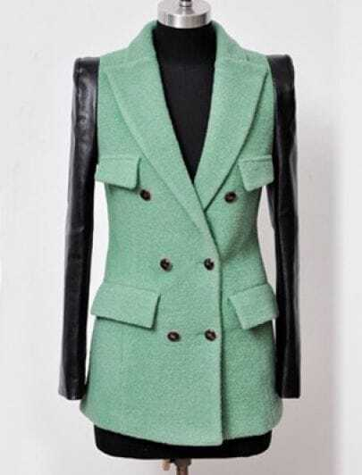 Light Green Contrast Leather Long Sleeve Pockets Wool Coat