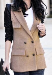 Camel Contrast Leather Long Sleeve Pockets Wool Coat
