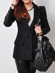 Black Contrast Leather Long Sleeve Pockets Wool Coat
