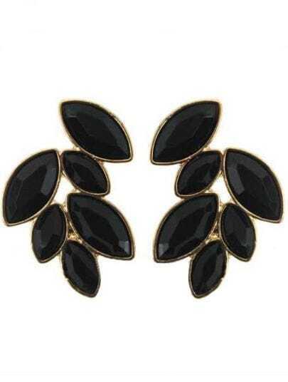 Black Gemstone Gold Stud Earrings