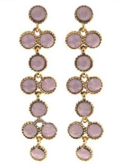 Light Pink Gemstone Gold Stud Earrings