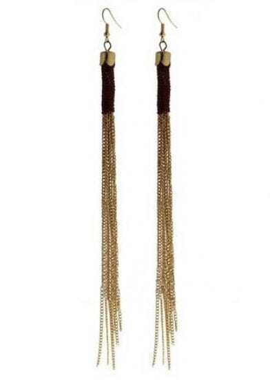Coffee Tassel Gold Chain Dangle Earrings