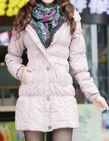 Pink Fuzzy Collar Hooded Elastic Waist Padded Coat