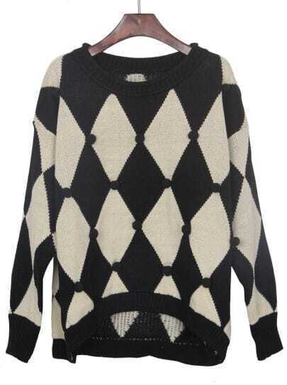 Black White Rhombus Hair Bulb Pullovers Sweater