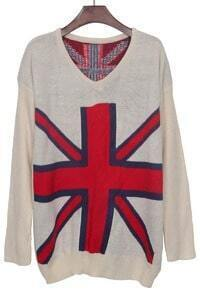 Apricot Sweatheart Neck Union Jack Pattern Jumper Sweater