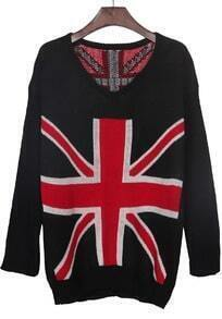 Black Sweatheart Neck Union Jack Pattern Jumper Sweater