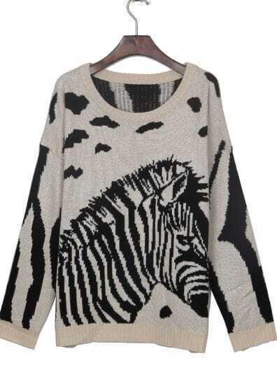 Beige Zebra Print Batwing Sleeve Loose Jumper Sweater