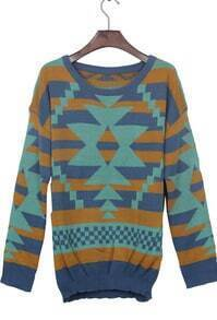 Blue Geometric Striped Pattern Drop Shoulder Jumper Sweater