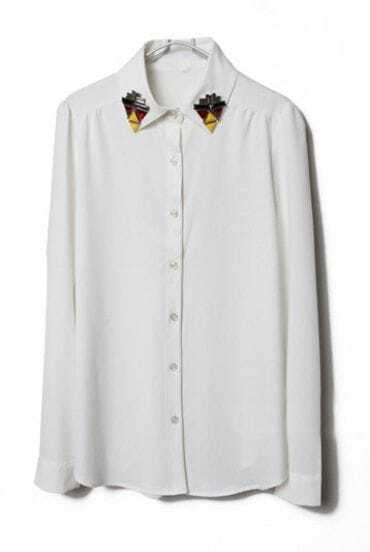 White Lapel Long Sleeve Rhinestone Chiffon Blouse