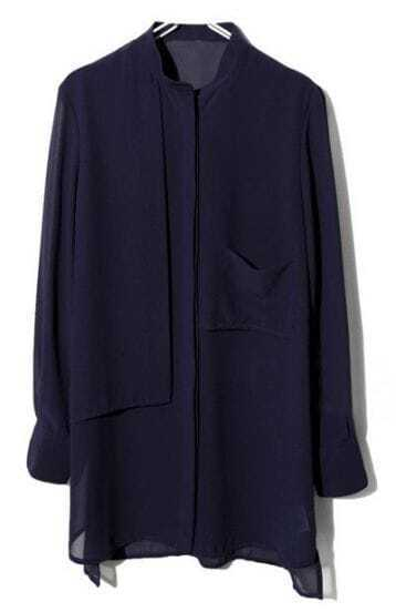 Navy Long Sleeve Pockets Buttons Chiffon Blouse