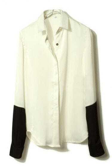 White Black Lapel Long Sleeve Buttons Blouse