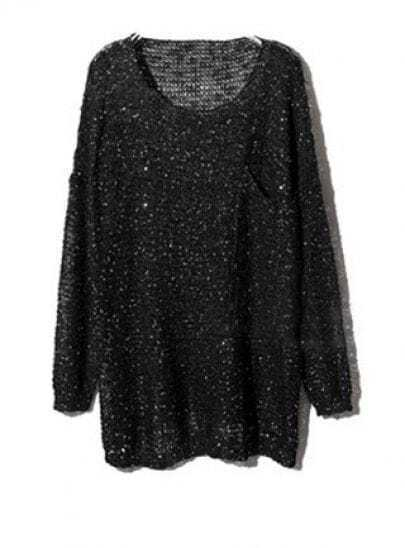 Black Long Sleeve Sequined Pullovers Sweater
