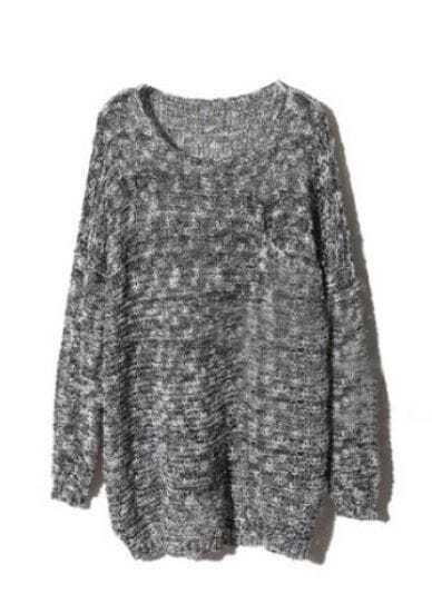 Grey Long Sleeve Sequined Pullovers Sweater