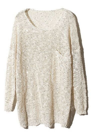 Apricot Long Sleeve Sequined Pullovers Sweater