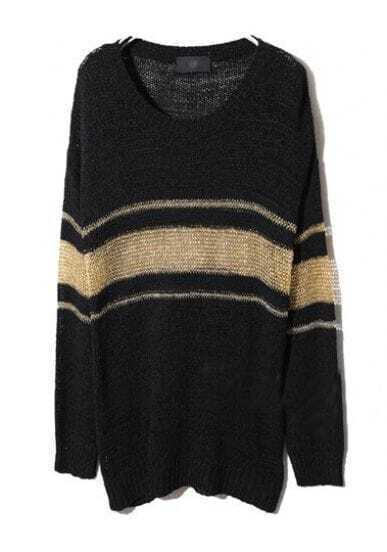 Black Long Sleeve Striped Sheer Loose Sweater