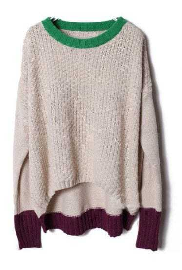Beige Long Sleeve Contrast Trims Pullovers Sweater