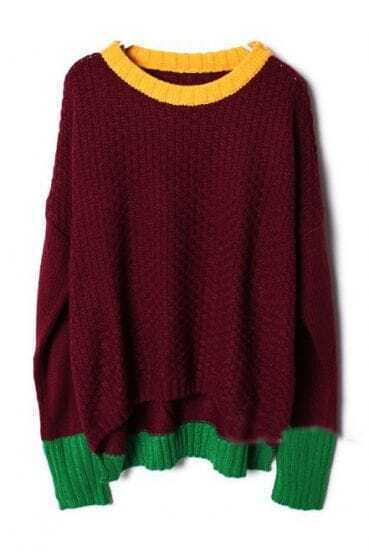 Red Long Sleeve Contrast Trims Pullovers Sweater
