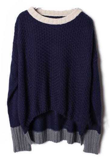 Navy Long Sleeve Contrast Trims Pullovers Sweater