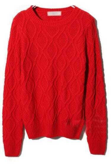 Red Round Neck Long Sleeve Diaper Sweater