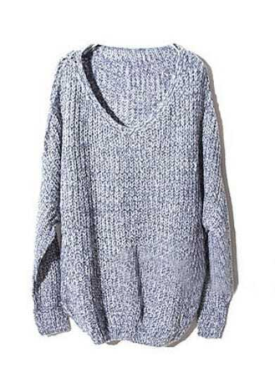 Blue V Neck Long Sleeve Pullovers Sweater