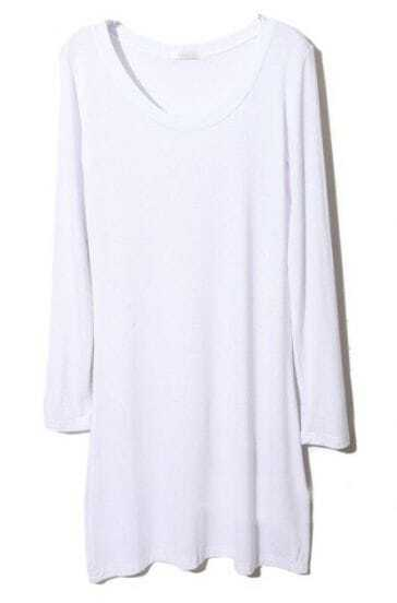 White Round Neck Long Sleeve Modal T-Shirt