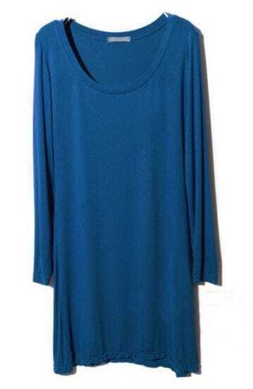 Blue Round Neck Long Sleeve Modal T-Shirt