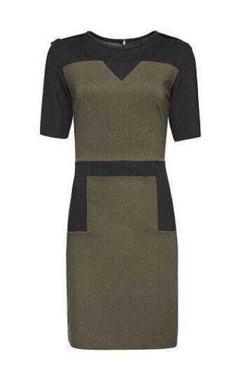 Green Black Short Sleeve Epaulet Zipper Dress