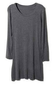 Dark Grey Round Neck Long Sleeve Modal T-Shirt