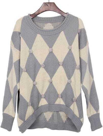 Grey Beige Rhombus Hair Bulb Pullovers Sweater