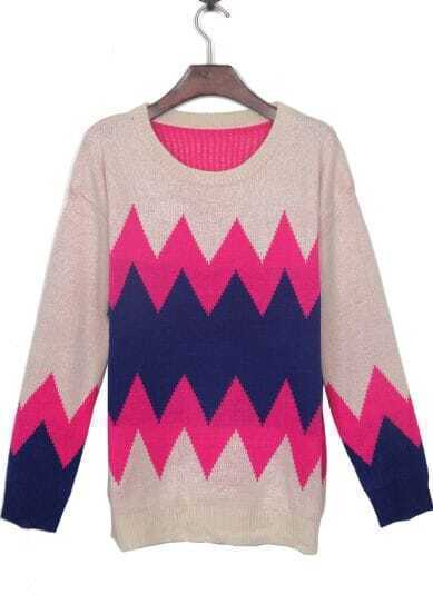 Apricot Contrast Rose Red Zigzag Striped Jumper Sweater