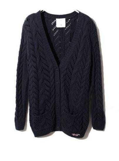 Navy Long Sleeve Pockets Cardigan Sweater