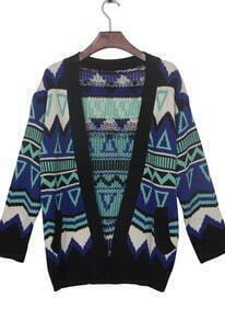 Blue Contrast Black Trim Geometric Tribal Cardigan Sweater
