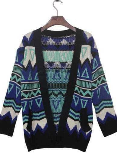 Blue Contrast Black Trim Geometric Tribal Cardigan Sweater
