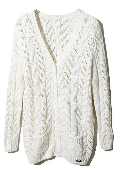 White Long Sleeve Pockets Cardigan Sweater -SheIn(Sheinside)