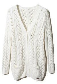 White Long Sleeve Pockets Cardigan Sweater