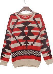 Red Geometric Striped Pattern Drop Shoulder Jumper Sweater