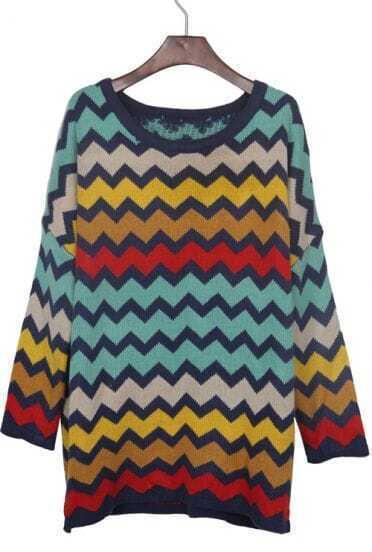 Colorblock Zigzag Striped Drop Shoulder Jumper Sweater