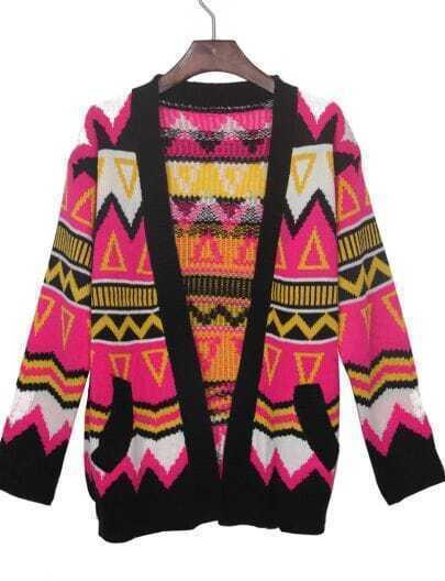 Rose Red Contrast Black Trim Geometric Tribal Cardigan Sweater
